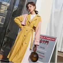 LANMREM nueva moda Simple Hit Color largo gabardina Famale Single-breasted abrigo con cinturón rompevientos 2020 primavera Casual PC365