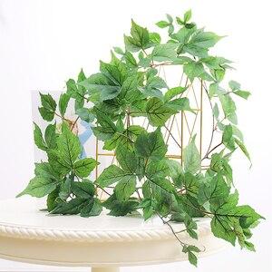 Image 4 - 180cm Künstliche Kunststoff Pflanzen Ivy Maple leaf garland baum Gefälschte Herbst blätter Rattan Hängenden Reben für Hochzeit Hause Wand decor