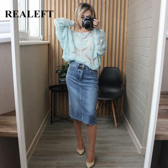 Женская джинсовая юбка с высокой талией 2