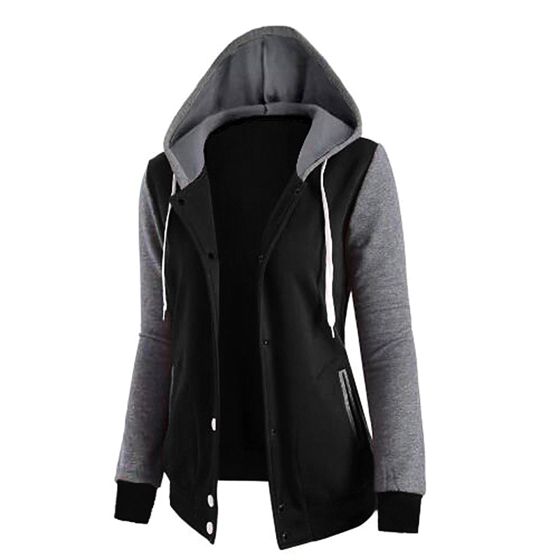 Womens Sports Exercise Sweaters Splicing Hooded Pockets Long Sleeves