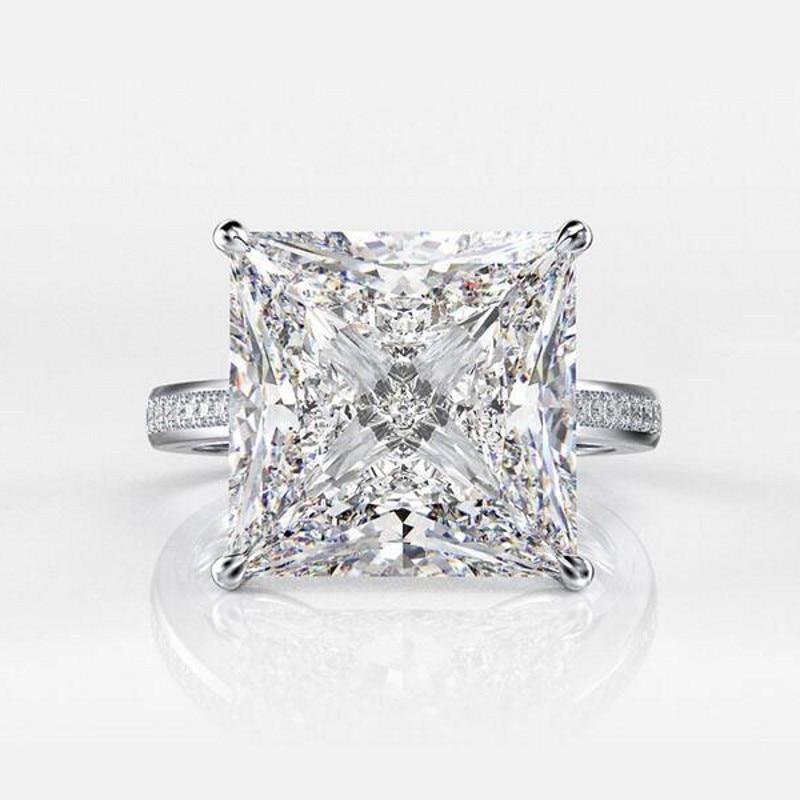 Choucong 100% réel 925 en argent Sterling anneaux pour femmes hommes carré 12mm Sona Diamon cz fiançailles bague de mariage bijoux fins - 6