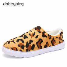 Leopard Flock Woman Flats New Winter Plush Indoor Boat Shoe Women Keep Warm Female Loafers Unisex Cotton Shoes Big Size 36-46