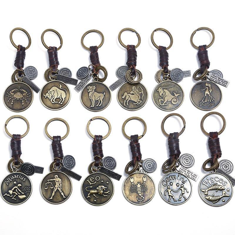 Modyle 12 Constellation Keychain Genuine Leather Zodiac Keychain Punk Vintage Men Women Birthday Gifts