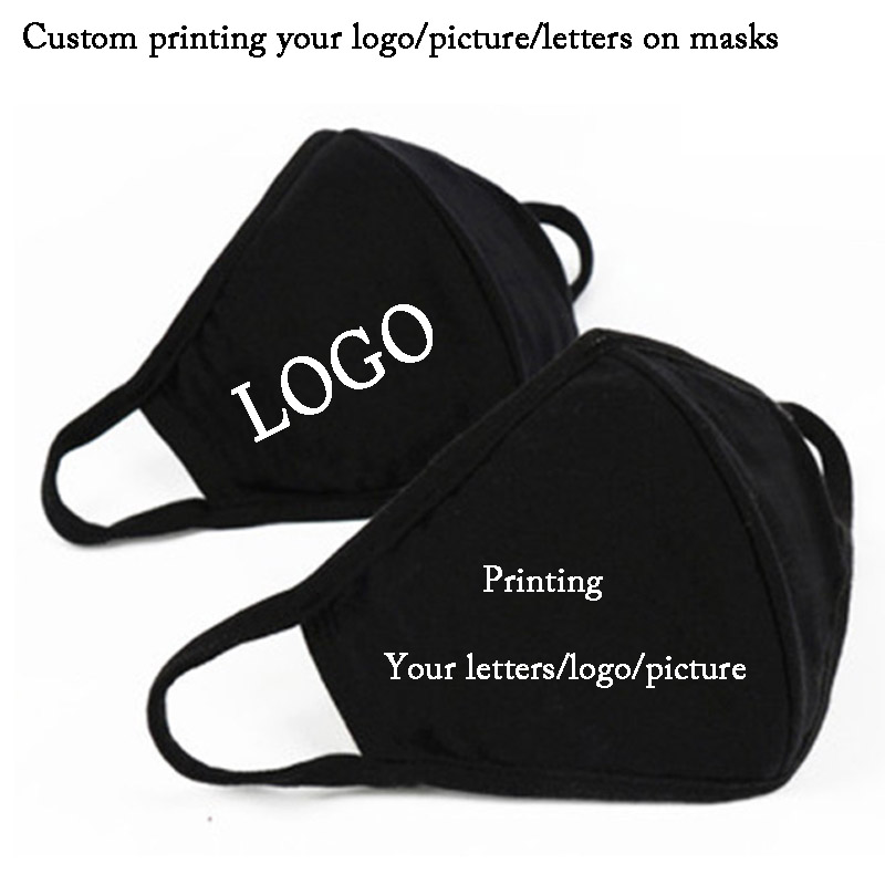 2pcs A Lot Cotton Black Mouth Mask Custom Printing LOGO  Flu Face Masks Care Cycling Camping Travel Mask Anti Virus Washable