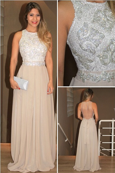 2014 Lindo Vestido Womens Evening Long Evening Gowns O-Neck Sequins Beaded Chiffon Back See-through Tulle Prom Dress BO3674