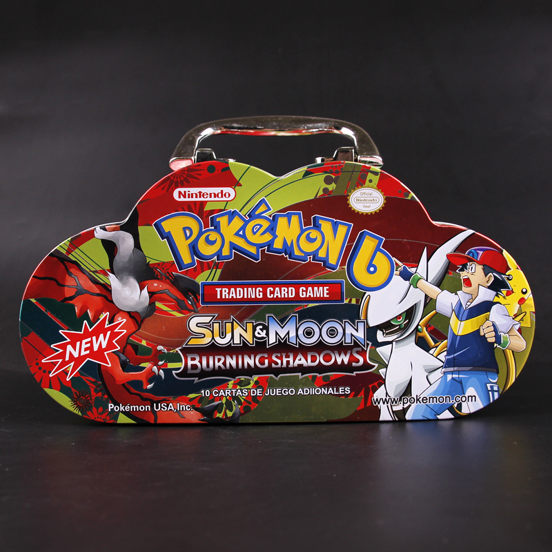 Portable Iron Box Pokemon Cards English Version Battle Game Collection Card PTCG Action Figure Child Toy Gift