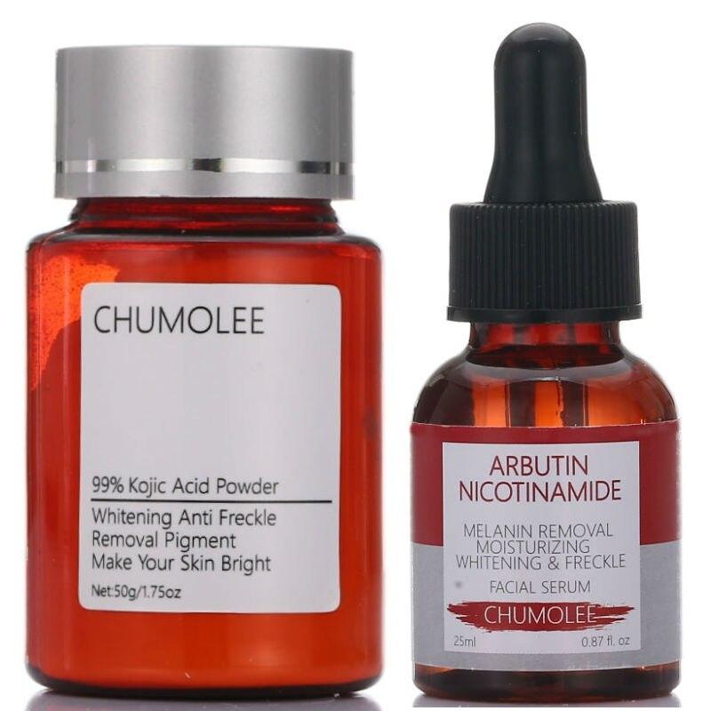 Порошок из койевой кислоты Chumolee 99% + Сыворотка из альфа-арбутина для удаления мелазмы, пигмента от прыщей, меланина, темного Sopt, отбеливающий ...