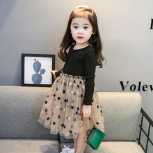 Party Dress Star Printed Birthday Tutu Dresses Kids Long Sleeve Lace Drsses for Girls Children Casual Wear 3 to 8 Years Vestidos все цены