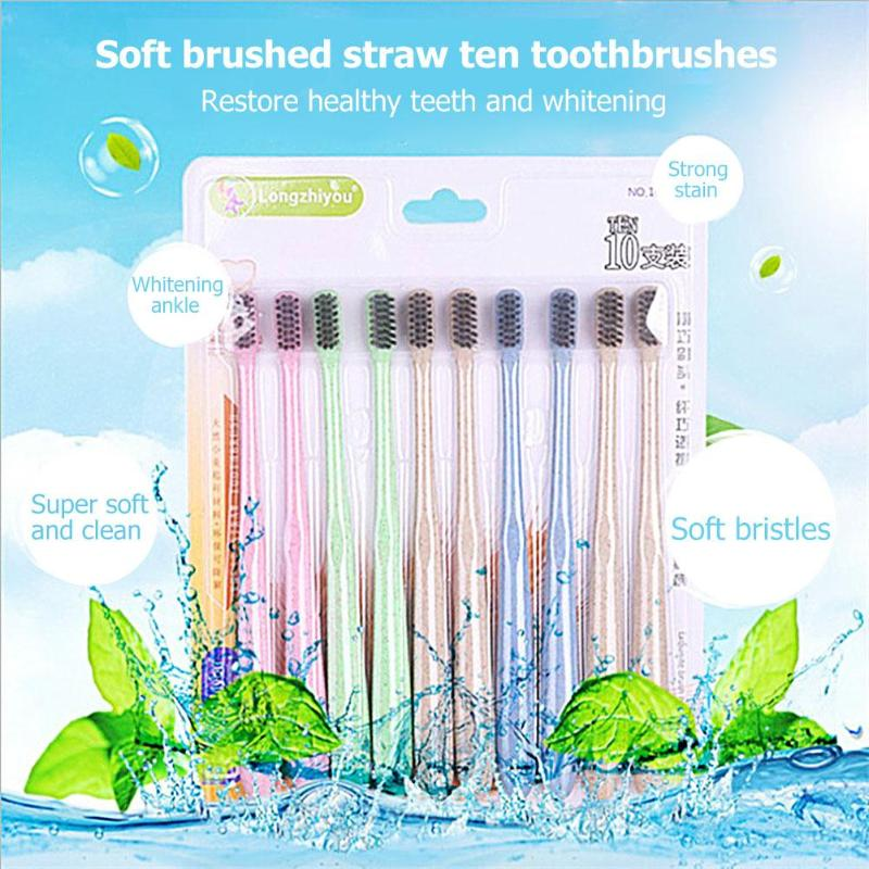 10pcs Portable Soft Hair Toothbrush Bathroom Accessory Natural Wheat Straw Travel Toothbrush Oral Cleaning Care Tools image
