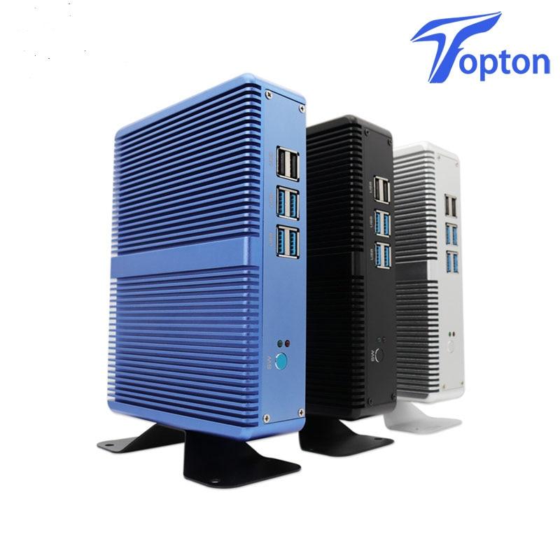 Topton Cheap Fanless Mini Computer Windows 10 Intel I7 I5 I3 Barebone PC 6*USB Msata SSD 2.5 Inch HDD HTPC 300M Wifi VGA HDMI
