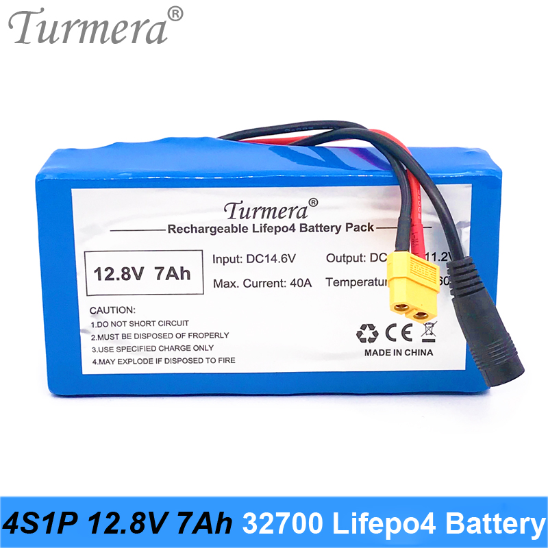 Turmera 12.8V 7Ah 4S1P <font><b>32700</b></font> Lifepo4 <font><b>Battery</b></font> with 4S 40A BMS Balanced for Electric Boat and Car Uninterrupted Power Supply 12V image