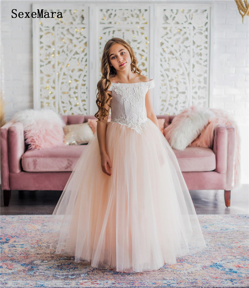 New Off The Shoulder Girls Clothes For First Communion Puffy Tulle Lace Top Girls Dresses For Special Occasion Lace Up Back