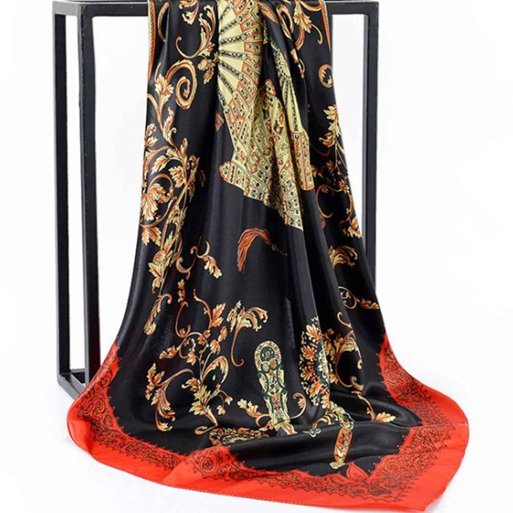 Wiosenny letni kwadratowy jedwabny szalik szalik damski szyi biurowa, damska chustka Bandanna 90cm muzułmański hidżab chustka na szyję