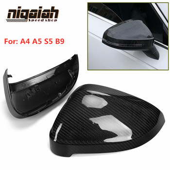 A4 B9 Car Side Mirror Covers for Audi B9 A4 2016-2018 A5 S5 2016 Carbon Fiber Mirror Caps Replacement with Rear View Lane Assist