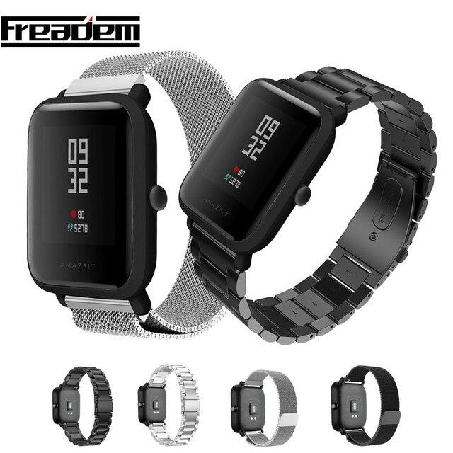 20 มม.สร้อยข้อมือสำหรับXiaomi Huami Amazfit Smartสมาร์ทนาฬิกาสายโลหะสแตนเลสสตีลเข็มขัดสำหรับAmazfit Bipสายรัดข้อมือ