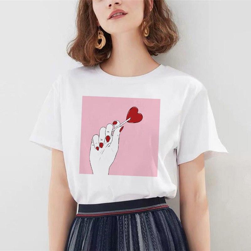 Harajuku Women's T-shirt Hands Rose Print Summer Tops Casual Short Sleeve Fashion T Shirt Camiseta Mujer
