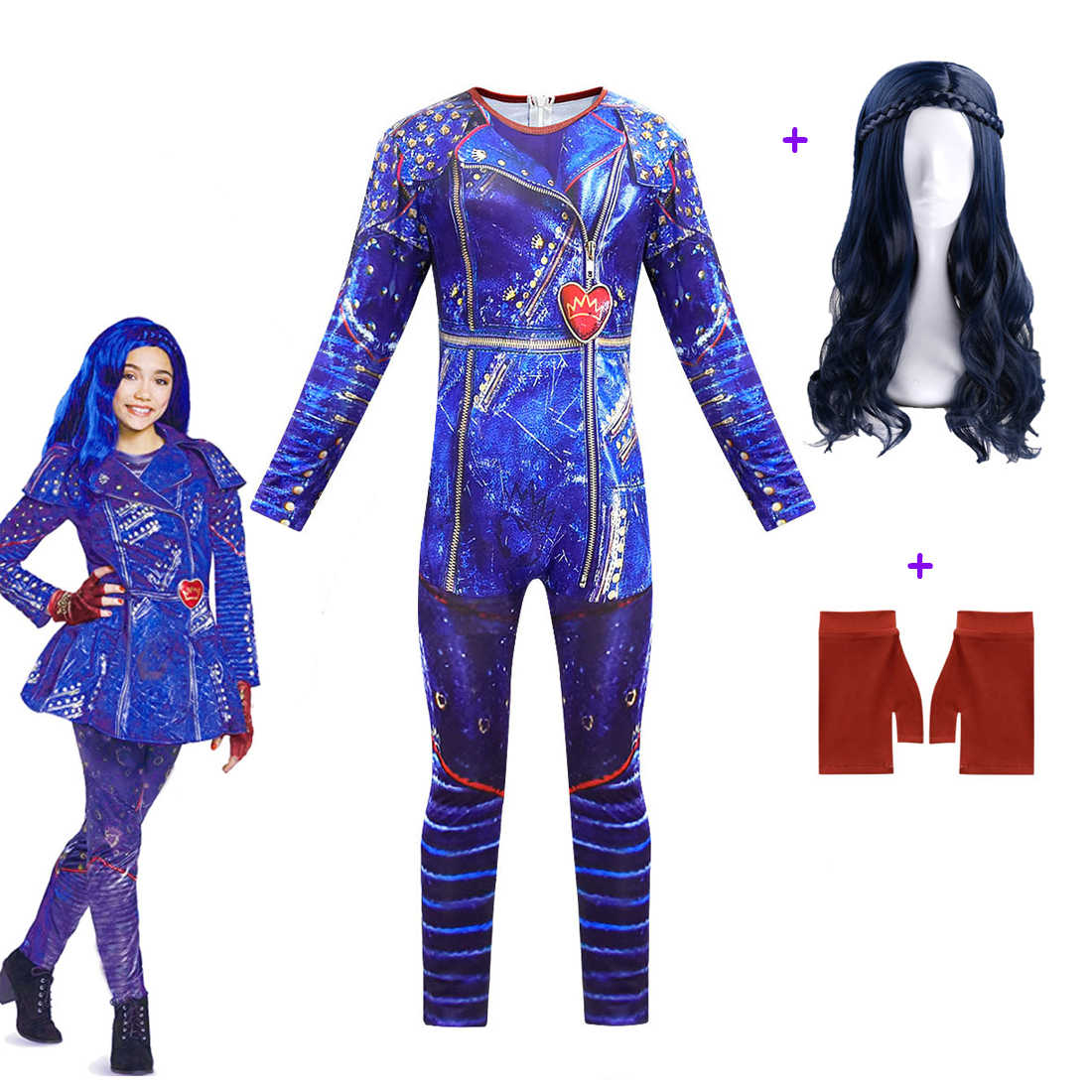 Halloween Girls Costume Mal Bertha Maleficent Descendants 3 Evil Straight Kids Halloween Party Cosplay Wig Jumpsuits For Kids
