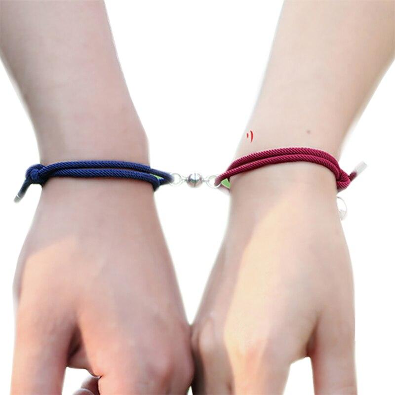 2 pçs casal pulseiras ímãs atrair um ao outro amante amizade presente personalidade masculino e feminino charme pulseira jóias