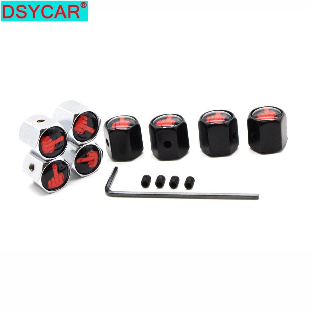 DSYCAR 1Set Zinc Alloy Anti-theft Middle Finger Style Car Tire Valve Caps Wheel Tires Tire Stem Air Cap Airtight Covers
