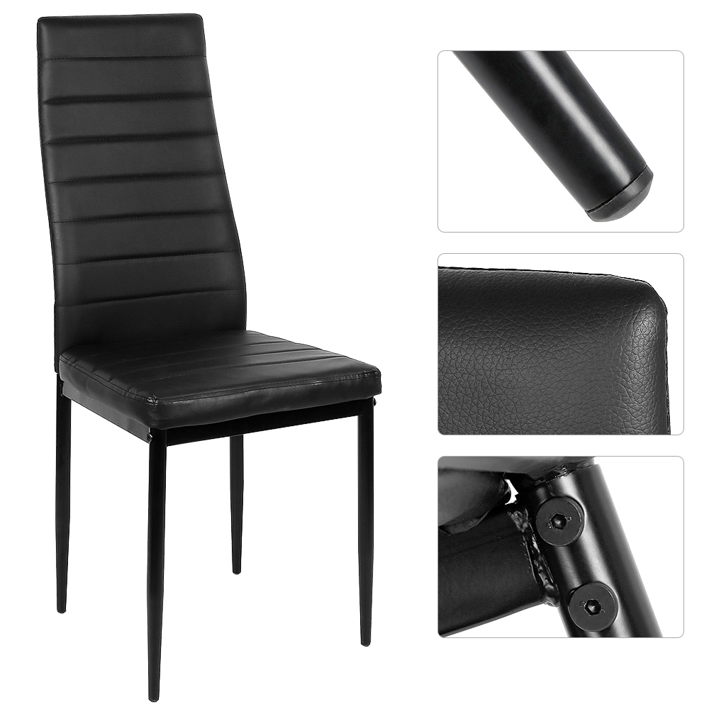 2PCS /set Modern Dinning Chairs Dining Stool High Backrest Faux Leather Metal Leg Padded Seat Chair Dinning Room Furniture HWC