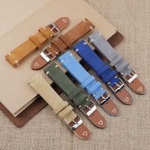 Camurça pulseira de relógio de couro 18mm 19mm 20mm 22mm azul verde do vintage pulseira de substituição artesanal costura pulseira