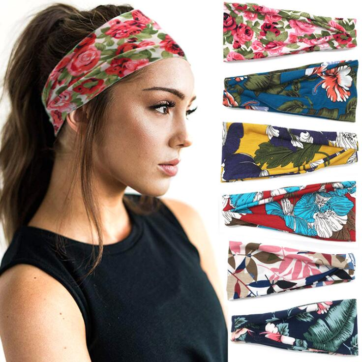 Vintage Bohemia Turban Headband Print Flower Headwear Bandana Elastic Hairband Hair Accessories For Girl Women Vacation
