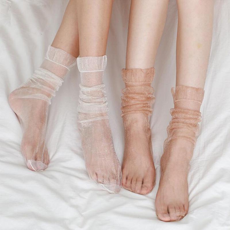 Sexy Ultra-thin Chiffon Socks Women Glisten Transparent Tulle Socks Long Fluffy Happy Socks Female Dress Streetwear Calcetines