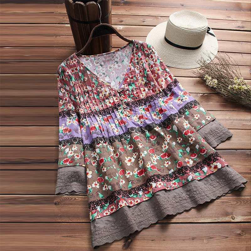 Vintage Plus Size Tunic Women's Printed Blouse 2020 ZANZEA Lace Tops Female Stiching Blusas V Neck Pleated Flare Sleeve Shirts