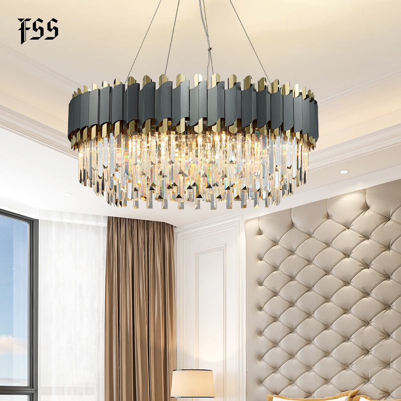 FSS New Modern Crystal Chrome Rectangle Chandelier Lighting For Dining Room Bedroom Round Chandeliers Living Room
