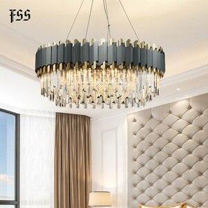 Image 2 - FSS nowa nowoczesna kryształowa chromowana prostokątna żyrandol do jadalni sypialnia okrągłe żyrandole oświetlenie do salonu oprawy
