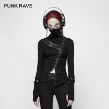 PUNK RAVE New Punk Turtleneck Metal Decoration Women T-shirt Gothic Thin Cotton Slim Tee Woman Stretch-knitted PU Stitching Tops