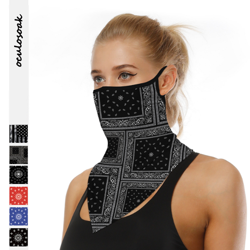 Hot Selling Digital Printed Outdoor Riding Hanging Ear Insect Mask Multifunctional Scarf Triangle Scarf