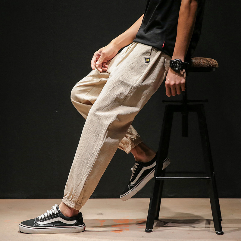 Japanese-style Black Wall Pants Casual Trousers Plus-sized Menswear Casual Skinny Pants Summer