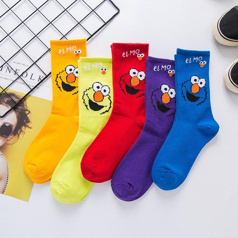 5 pairs Creative High Quality Fashion Harajuku Women Socks Cotton Cartoon Sports Rainbow Casual