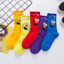5 pairs Creative High Quality Fashion Harajuku Women Socks Cotton Cartoon Sports Rainbow Casual