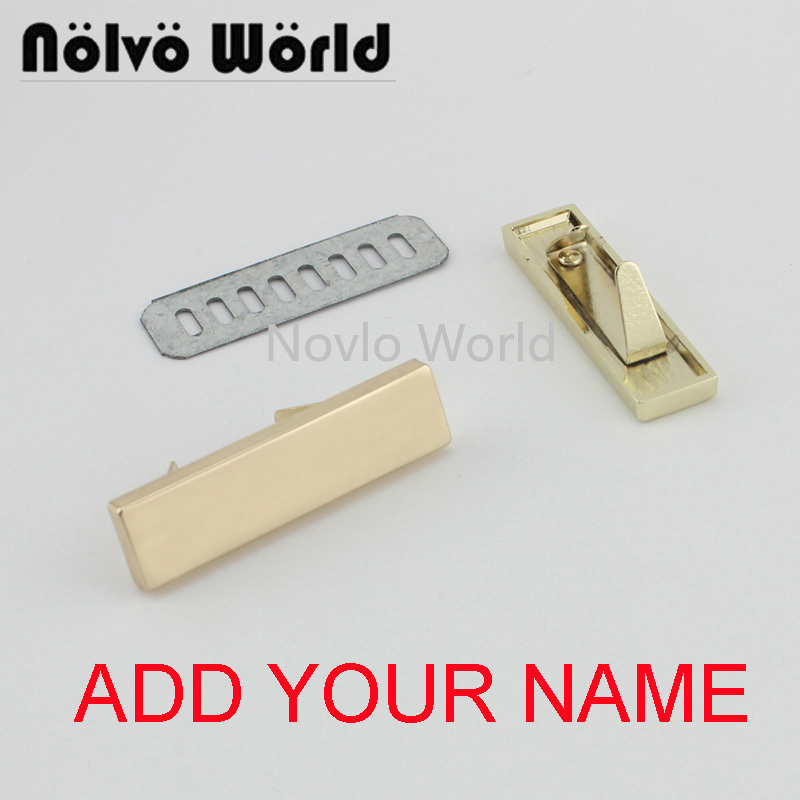 5-20-100 Pieces,write YOUR NAME 46*12mm Gold Light Gold Handbag Rectangle Ornament Metal Purse Label Tags,Make Bag Purse Label