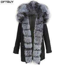 Женское пальто с натуральным мехом OFTBUY, чёрная куртка с воротником из натурального лисьего меха, водонепроницаемая длинная парка, теплая уличная верхняя одежда со съемным мехом для зимы