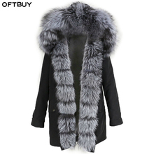 OFTBUY Real Fur Coat Natural Fox Fur Collar Hood Winter Jacket Women Waterproof Long Parka Warm Outerwear Streetwear Detachable