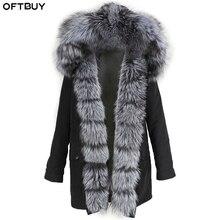 OFTBUY płaszcz z prawdziwego futra lis naturalny futerko z kołnierzem z kapturem kurtka zimowa kobiety wodoodporny, długi Parka ciepły odzież wierzchnia Streetwear odpinany