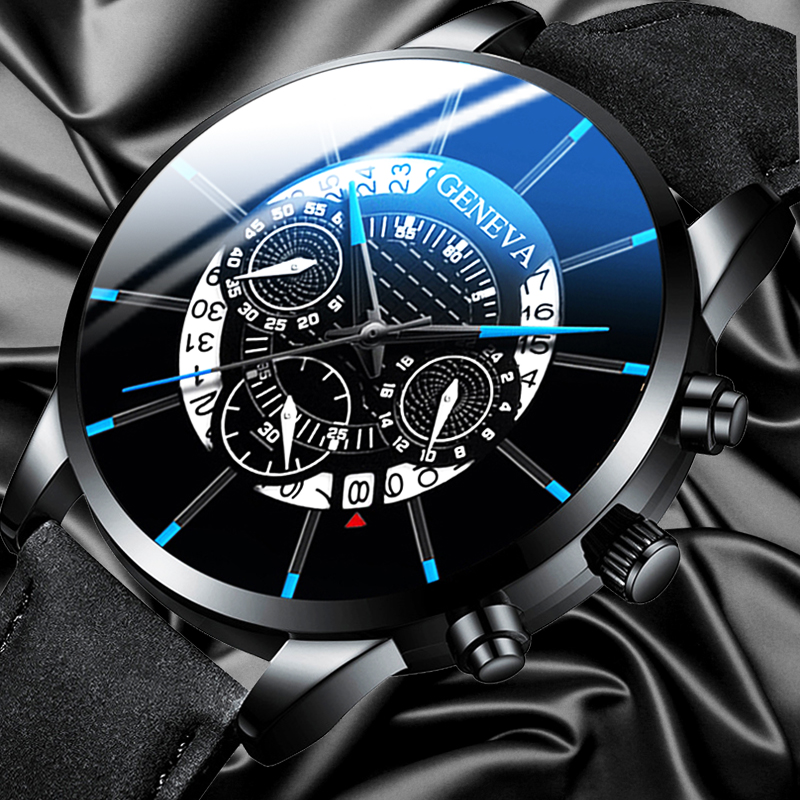 Reloj Hombre Mens Fashion Watches Military Sport Date Calendar Quartz Wrist Watch Men Casual Leather Watches Relogio Masculino
