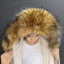 Bufanda de piel sintética de mapache, capucha de invierno, decoración de piel, chal Multicolor de piel falsa, abrigo de invierno, cuello de piel
