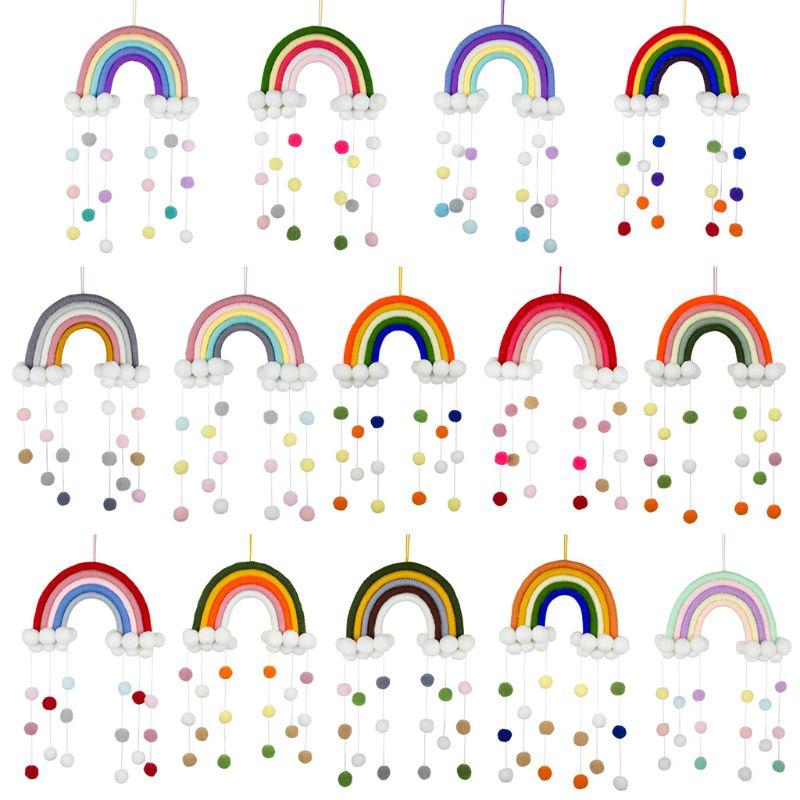 Скандинавский Радужный ткацкий орнамент ручной работы для детской комнаты настенный аксессуар для украшения дома