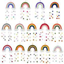 Ornamento de tecelagem artesanal, arco-íris nórdico para parede de decoração de casa, quarto das crianças