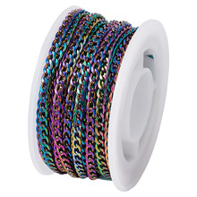 5m/rolo vácuo chapeamento 304 aço inoxidável curb chain trançado diy pulseiras colar unsolded multi-cor link 4.5x3x1mm