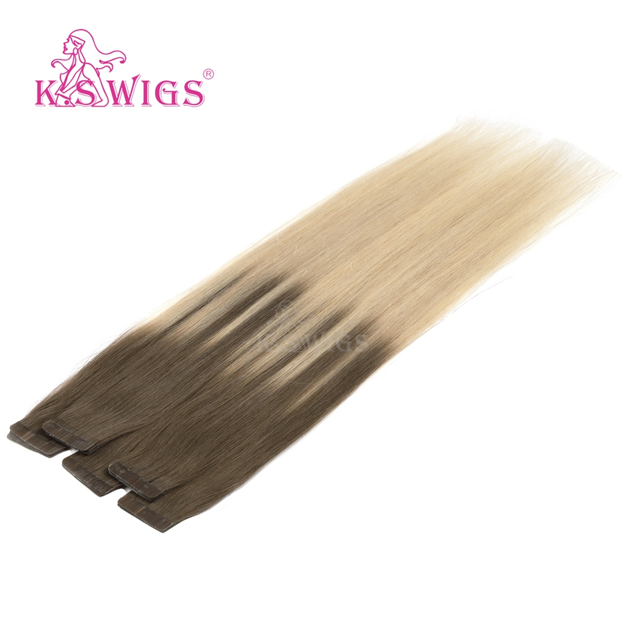 K.S WIGS 20'' Remy Human Hair 2.5g/pc Double Drawn Seamless Tape On Hair Brown Mix Blonde Plautinum Balayage Color