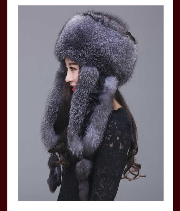 2019 Signore di Modo Cappello di Pelliccia Naturale Pelliccia di Volpe Russo Pelliccia di Volpe Colbacco Cappello di Inverno Ispessimento Orecchie di Modo Bomber Nuovo arrivo