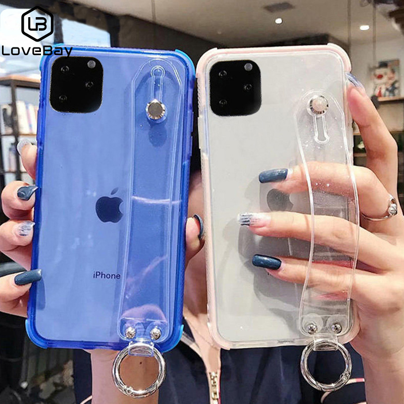 Lovebay Transparent Wristband Phone Case For iPhone 6 6S 7 8 Plus X XR XS 11 Pro Max Soft TPU Glitter Back Cover Simple Fundas image