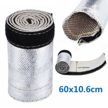 Metallic Heat Shield Sleeve Insulated Wire Hose Cover Wrap Loom Tube 60X10.6cm Car Accessories