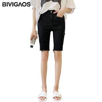 BIVIGAOS Women Summer New Black Stretch Jeans Shorts Casual Biker Shorts Slim Thin Skinny Ripped Knee Short Hole Denim Shorts 1