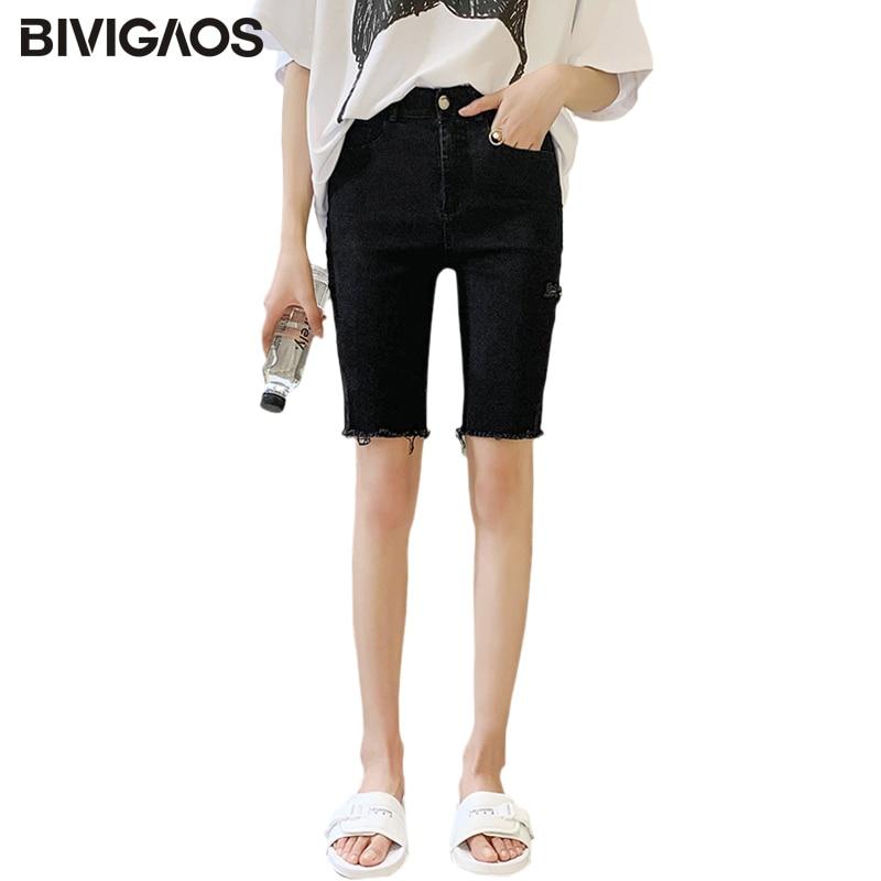 BIVIGAOS Women Summer New Black Stretch Jeans Shorts Casual Biker Shorts Slim Thin Skinny Ripped Knee Short Hole Denim Shorts